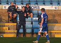 Exeter City Manager, Matt Taylor, makes a gesture to his players from the away dug-out at Gillingham during Gillingham vs Exeter City, Emirates FA Cup Football at the MEMS Priestfield Stadium on 28th November 2020