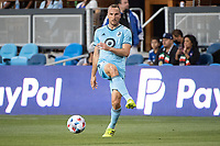 SAN JOSE, CA - AUGUST 17: Brent Kallman #14 of Minnesota United passes the ball during a game between San Jose Earthquakes and Minnesota United FC at PayPal Park on August 17, 2021 in San Jose, California.