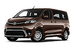 Stock pictures of low aggressive front three quarter view of 2018 Toyota Proace-Verso MPV 5 Door Minivan Low Aggressive