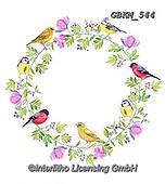 Kate, FLOWERS, BLUMEN, FLORES, paintings+++++Birds on floral wreath.,GBKM544,#f#, EVERYDAY ,birds