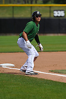 Clinton LumberKings Alex Jackson (35) leads off third base during the Midwest League game against the Beloit Snappers at Ashford University Field on June 12, 2016 in Clinton, Iowa.  The LumberKings won 1-0.  (Dennis Hubbard/Four Seam Images)