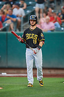 Joe Hudson (19) of the Salt Lake Bees bats against the El Paso Chihuahuas at Smith's Ballpark on August 14, 2018 in Salt Lake City, Utah. El Paso defeated Salt Lake 6-3. (Stephen Smith/Four Seam Images)