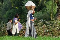 INDIA Madhya Pradesh , organic cotton project bioRe in Kasrawad  , woman harvest cotton, wife of cotton farmer with her children going home / INDIEN Madhya Pradesh, Projekt fuer biodynamischen Anbau von Biobaumwolle in Kasrawad, Frau geht mit ihren Kindern nach der Ernte von Biobaumwolle in ihr Dorf