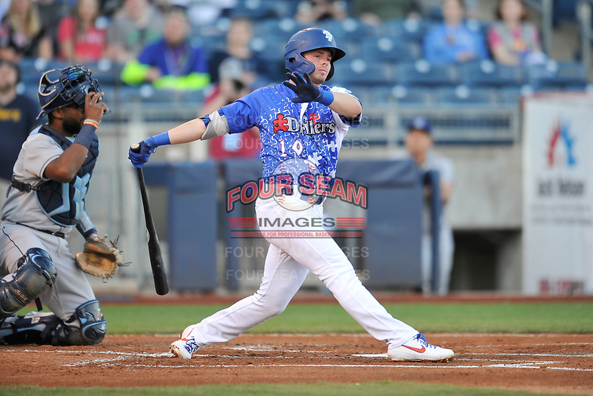 Tulsa Drillers shortstop Gavin Lux (10) swings at a pitch against the Corpus Christi Hooks at Oneok Stadium on May 4, 2019 in Tulsa, Oklahoma.  The Hooks won 9-7.  (Dennis Hubbard/Four Seam Images)