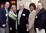"""SOUTHBURY, CT - 1 April 2004 - 040104TH10 - Mike Belden, CFO for the Town of Middlebury, State Senator Joan Hartely D-15, Ralph Carpinella , president of Carpin Manufacturing and winner of the Spirit of Excellence Award, Kelly Cronin of Prospect and Exec. Director of Waterbury Youth Services, and Garrett Casey, Chief of Staff for Mayor Jarjura in Waterbury,  pose at the United Way of Greater Waterbury """"Digging Deeper"""" Campaign 2003-04 Awards Dinner held at the Southbury Hilton Hotel Thursday night.  TODD HOUGAS PHOTO"""