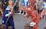 Helston Furry dance May 8th Cornwall 1970s. UK. George and the Dragon