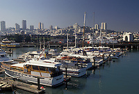 AJ3783, San Francisco, Bay Area, California, Marina on the harbor in San Francisco in the state of California. Skyline of downtown San Francisco in the distance.