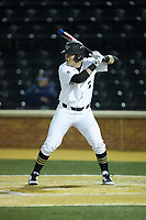 Bobby Seymour (3) of the Wake Forest Demon Deacons at bat against the Florida State Seminoles at David F. Couch Ballpark on March 9, 2018 in  Winston-Salem, North Carolina.  The Seminoles defeated the Demon Deacons 7-3.  (Brian Westerholt/Four Seam Images)