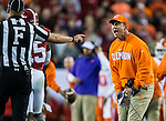 Clemson head coach Dabo Swinney disagrees with the referee in the second half of the 2017 College Football Playoff National Championship against Alabama in Tampa, Florida on January 9, 2017.  Clemson defeated Alabama 35-31. Photo by Mark Wallheiser/UPI