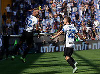 12th September 2021; G.Ferraris Stadium, Genoa, Italy; Serie A football, Sampdoria versus Inter Milan; Federico Dimarco of Inter celebrates after scoring his goal for 1-0 in the 18th minute with teammate Nicolo Barella of Inter