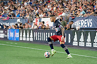FOXOBOROUGH, MA - AUGUST 21: Gustavo Bou #7 of New England Revolution prepares to cross the ball near the FC Cincinnati goal during a game between FC Cincinnati and New England Revolution at Gillette Stadium on August 21, 2021 in Foxoborough, Massachusetts.