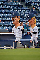 Scranton/Wilkes-Barre RailRiders mascot race featuring Joe DiMaggio and Mickey Mantle during a game against the Pawtucket Red Sox on May 15, 2017 at PNC Field in Moosic, Pennsylvania.  Scranton defeated Pawtucket 8-4.  (Mike Janes/Four Seam Images)