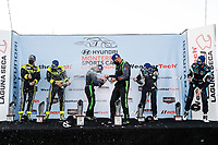 #7 Archangel Motorsports Aston Martin Vantage GT4, GS: Trent Hindman, Alan Brynjolfsson, #39 CarBahn with Peregrine racing Audi R8 GT4, GS: Tyler McQuarrie, Jeff Westphal, #60 KOHR MOTORSPORTS Aston Martin Vantage GT4, GS: Nate Stacy, Kyle Marcelli, podium, champagne