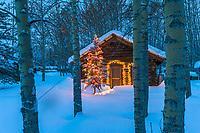 Historic log cabin in snowy Wiseman, Alaska