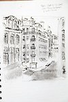 Paris, Latin Quarter, view from, Hotel Cluny Sorbonne, Joel Rogers, Journal Art 2002, ink and charcoal on paper,