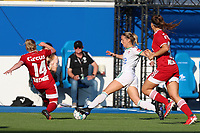 Zoe Van Eynde (14) of Standard and Charlotte Cranshoff (18) of OHL in action during a female soccer game between Oud Heverlee Leuven and Standard Femina de Liege on the third matchday of the 2021 - 2022 season of Belgian Womens Super League , Sunday 5 th of September 2021  in Leuven , Belgium . PHOTO SPORTPIX.BE   SEVIL OKTEM