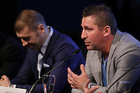 Boxer Lucian Bute, and former boxer Eric Lucas (R) attend the Montreal news conference for the upcoming Badou Jack v Lucian Bute in Washington this month, Wenesday, April 6, 2016.<br /> <br /> Photo : Pierre Roussel<br /> - Agence Quebec Presse