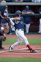 Will Wagner (17) of the Liberty Flames follows through on his swing against the Bellarmine Knights at Liberty Baseball Stadium on March 9, 2021 in Lynchburg, VA. (Brian Westerholt/Four Seam Images)