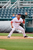 Harrisburg Senators first baseman Drew Ward (17) waits to receive a throw during the first game of a doubleheader against the New Hampshire Fisher Cats on May 13, 2018 at FNB Field in Harrisburg, Pennsylvania.  New Hampshire defeated Harrisburg 6-1.  (Mike Janes/Four Seam Images)