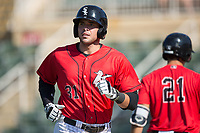 Brandon Dulin (31) of the Kannapolis Intimidators returns to the dugout after hitting a home run against the Hagerstown Suns at Kannapolis Intimidators Stadium on June 14, 2017 in Kannapolis, North Carolina.  The Intimidators defeated the Suns 4-1 in game one of a double-header.  (Brian Westerholt/Four Seam Images)