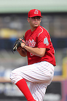 Reading Phillies pitcher Julio Rodriguez #27 during practice before a game against the New Hampshire Fisher Cats at FirstEnergy Stadium on April 10, 2012 in Reading, Pennsylvania.  New Hampshire defeated Reading 3-2.  (Mike Janes/Four Seam Images)