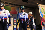 Tereza Medvedova and Alzbeta Bacikova of Slovakia at the start of the Women Elite Road Race of the UCI World Championships 2019 running 149.4km from Bradford to Harrogate, England. 28th September 2019.<br /> Picture: Eoin Clarke | Cyclefile<br /> <br /> All photos usage must carry mandatory copyright credit (© Cyclefile | Eoin Clarke)