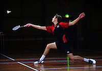 Action from the boys' final of the Wellington Secondary Schools Badminton Tournament between Jacob Morgon (Paraparaumu College) and Elliot Pike (Hutt Valley High School, pictured) at Wellington Badminton Courts, Hataitai, Wellington, New Zealand on Wednesday, 27 June 2012. Photo: Dave Lintott / lintottphoto.co.nz