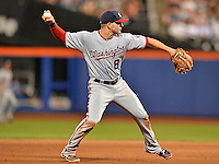 24 July 2012: Washington Nationals infielder Danny Espinosa gets the first out of the 8th inning against the New York Mets at Citi Field in Flushing, NY. The Nationals defeated the Mets 5-2 to take the second game of their 3-game series. Mandatory Credit: Ed Wolfstein Photo