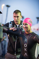 Meredith Kessler getting ready to start the swim at the Accenture Ironman California 70.3 in Oceanside, CA on March 29, 2014.