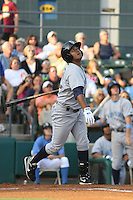 Wilmington Blue Rocks shortstop Christian Colon #12 at bat during a game vs. the Myrtle Beach Pelicans at BB&T Coastal Field in Myrtle Beach,SC on July 20, 2010.  Myrtle Beach defeated Wilmington by the score of 5-4.  Photo By Robert Gurganus/Four Seam Images