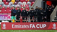 Brentford goalkeeper, Luke Daniels, leads out the team ahead of kick-off during Brentford vs Leicester City, Emirates FA Cup Football at the Brentford Community Stadium on 24th January 2021