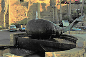 A whimsical statue in Jaffa (Joppa) depicting the whale that swallowed Jonas. Jonas began his fateful journey here at the port city of Jaffa. Matthew 12:40