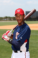 GCL Nationals Pedro Severino #2 poses for a photo after a game against the GCL Mets at the Washington Nationals Minor League Complex on June 20, 2011 in Melbourne, Florida.  The Nationals defeated the Mets 5-3.  (Mike Janes/Four Seam Images)
