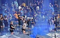 KANSAS CITY, KS - SEPTEMBER 19: Sporting Kansas City fans celebrate their team's goal during a game between FC Dallas and Sporting Kansas City at Children's Mercy Park on September 19, 2020 in Kansas City, Kansas.