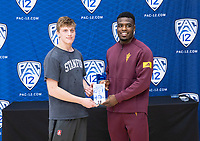 STANFORD, CA - March 7, 2020: Shane Griffith of Stanford and Kordell Norfleet or Arizona State University are presented with the Wrestler of the Meet Award during the 2020 Pac-12 Wrestling Championships at Maples Pavilion.