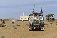 MALI, Gao, Minusma UN peace keeping mission, Camp Castor, german army Bundeswehr, patrol in village BAGOUNDJÉ, mosque