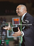 North Texas Mean Green head coach Johnny Jones in action during the game between the Denver Pioneers and the University of North Texas Mean Green at the North Texas Coliseum,the Super Pit, in Denton, Texas. UNT defeated Denver 75 to 74 in overtime.