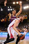 League ACB-ENDESA 201/2019.Game 38.<br /> PlayOff Semifinals.1st match.<br /> FC Barcelona Lassa vs Tecnyconta Zaragoza: 101-59.<br /> Victor Claver vs Nemanja Radovic.