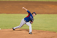 AZL Rangers relief pitcher Dylan Bice (87) delivers a pitch during an Arizona League playoff game against the AZL Indians 1 at Goodyear Ballpark on August 28, 2018 in Goodyear, Arizona. The AZL Rangers defeated the AZL Indians 1 7-4. (Zachary Lucy/Four Seam Images)