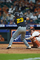 Austin James (23) of the Missouri Tigers at bat against the Texas Longhorns in game eight of the 2020 Shriners Hospitals for Children College Classic at Minute Maid Park on March 1, 2020 in Houston, Texas. The Tigers defeated the Longhorns 9-8. (Brian Westerholt/Four Seam Images)