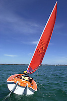 A IFDS sailor who is disabled sails out in the bay.