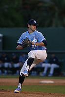 Cole Aker (44) of the North Carolina Tar Heels pitches against the UCLA Bruins at Jackie Robinson Stadium on February 20, 2016 in Los Angeles, California. UCLA defeated North Carolina, 6-5. (Larry Goren/Four Seam Images)