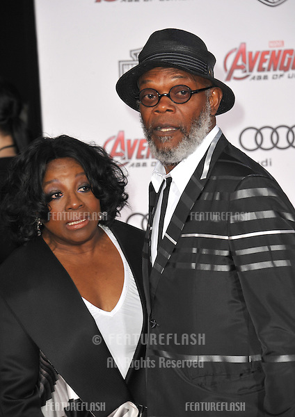 """Samuel L. Jackson & wife LaTanya Richardson at the world premiere of his movie """"Avengers: Age of Ultron"""" at the Dolby Theatre, Hollywood.<br /> April 13, 2015  Los Angeles, CA<br /> Picture: Paul Smith / Featureflash"""