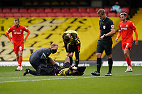 Nathaniel Chalobah (14) of Watford lays injured during the Sky Bet Championship match between Watford and Luton Town at Vicarage Road, Watford, England on 26 September 2020. Photo by David Horn.