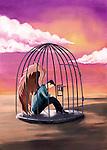 Illustrative image of sad businessman sitting in cage representing bondage