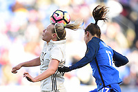 Harrison, NJ - Saturday, March 04, 2017: Kristin Demann, Gaëtane Thiney prior to a SheBelieves Cup match between the women's national teams of France (FRA) and Germany (GER) at Red Bull Arena.