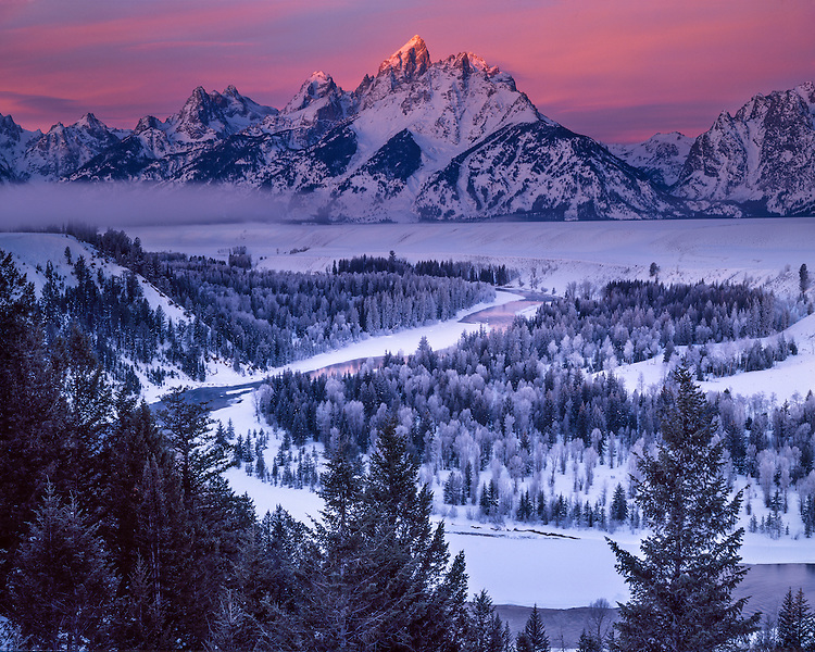 Foggy sunrise in winter at the Snake River Overlook; Grand Teton National Park, WY