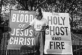 Preacher: The Blood of Jesus, The Holy Ghost and Fire.  Speakers' Corner, Hyde Park, London.