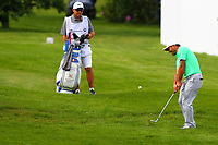 Francesco Molinari chips out of the rough on the 18th green during the BMW PGA Golf Championship at Wentworth Golf Course, Wentworth Drive, Virginia Water, England on 27 May 2017. Photo by Steve McCarthy/PRiME Media Images.