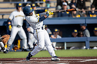 Michigan Wolverines second baseman Ako Thomas (4) swings the bat against the San Jose State Spartans on March 27, 2019 in Game 1 of the NCAA baseball doubleheader at Ray Fisher Stadium in Ann Arbor, Michigan. Michigan defeated San Jose State 1-0. (Andrew Woolley/Four Seam Images)